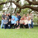 multi-generational family portrait under giant oak tree daytona beach
